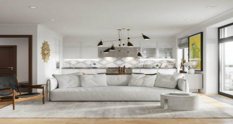 Explore this amazing apartment with Mid Century lighting