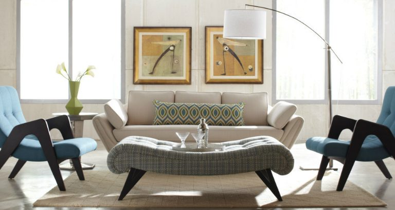 Luxury furniture at mid-century home mid-century Luxury furniture at mid-century home modern living room 768x410