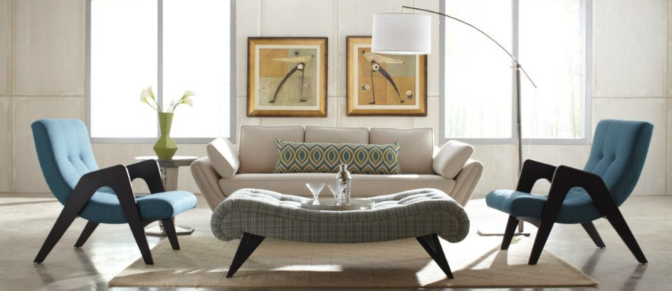 Luxury furniture at mid-century home