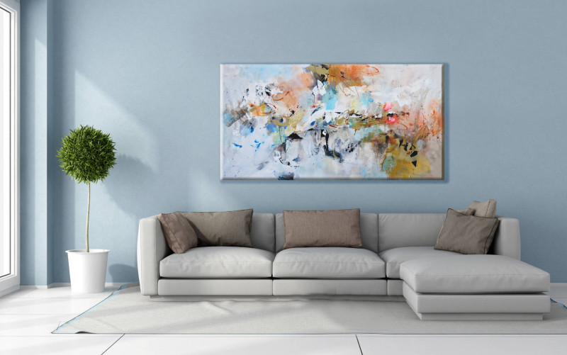 Living Room Abstract Painting On Canvas Wall Hanging Designs For Room Interior And Decoration Essential Home Mid Century Furniture