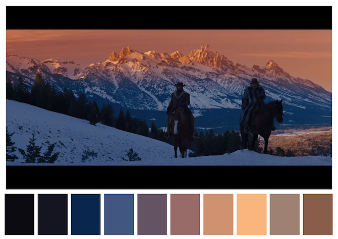 Django Unchained (2012) dir. Quentin Tarantino Iconic Movies Top 20 Pallette Colors of Iconic Movies Django Unchained 2012 dir